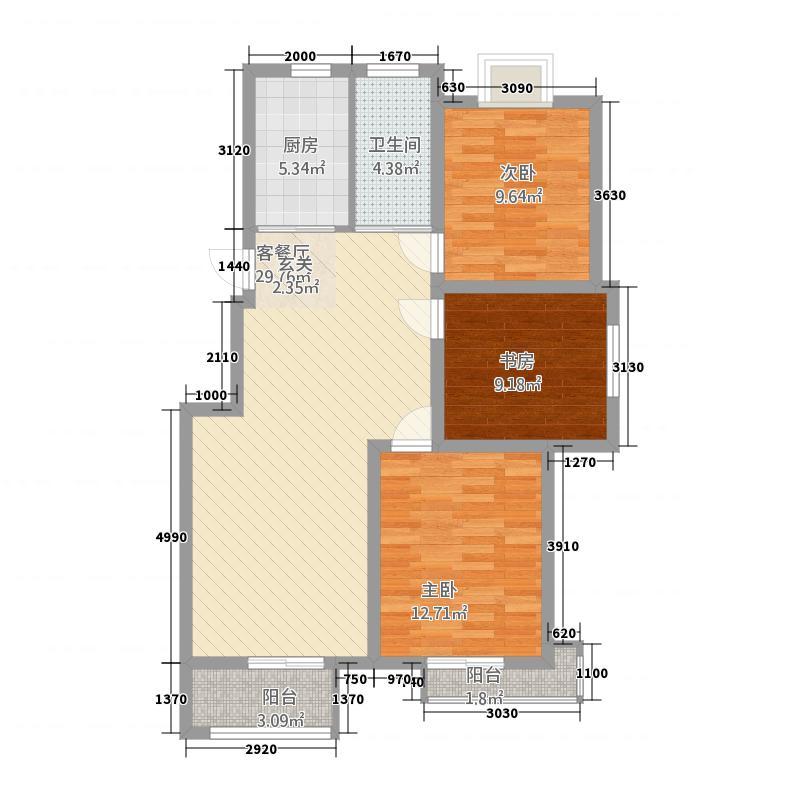 天惠景庭321.20㎡E户型3室2厅1卫1厨