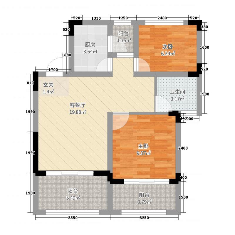 龙汇天池A1-5户型2室2厅1卫1厨