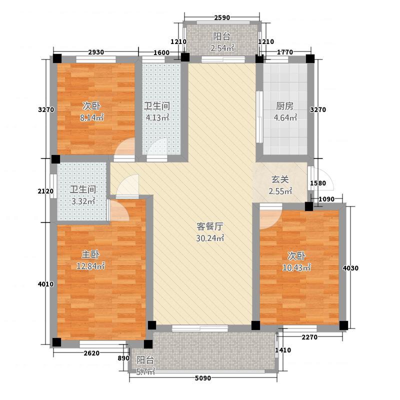 华府沁雅花园D2户型3室2厅2卫1厨