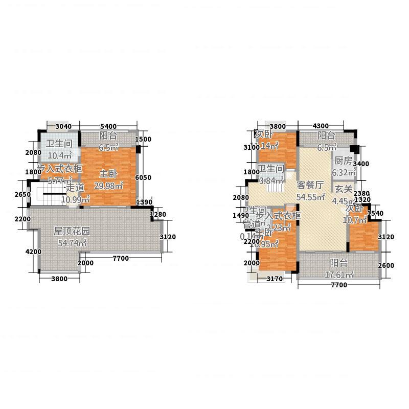 开平汇景湾81221.20㎡8幢、10幢B型顶层复式户型5室2厅3卫1厨