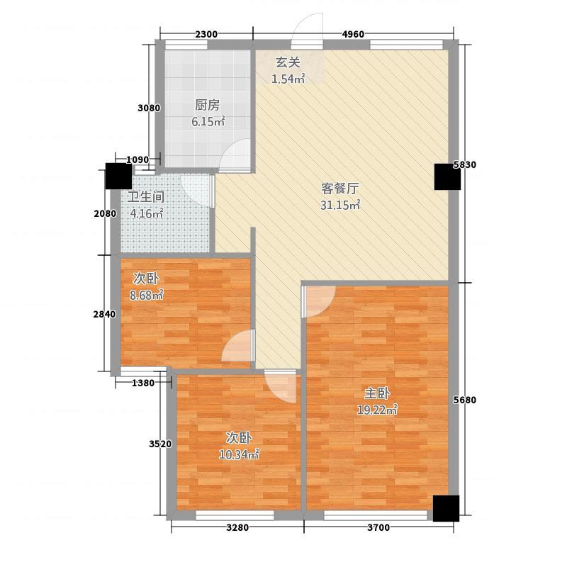 金瑞汽车城3211.20㎡b户型3室2厅1卫1厨