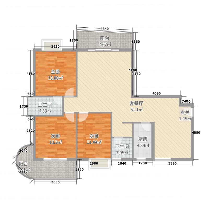 新城海世界8137.20㎡8、9#B户型3室2厅2卫1厨