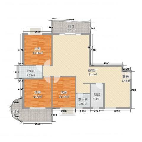 新城海世界3室1厅2卫1厨8137.00㎡户型图