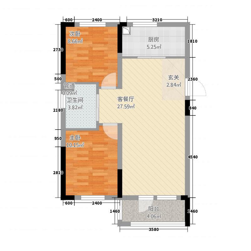 多恩海棠湾85.20㎡D户型2室2厅1卫1厨