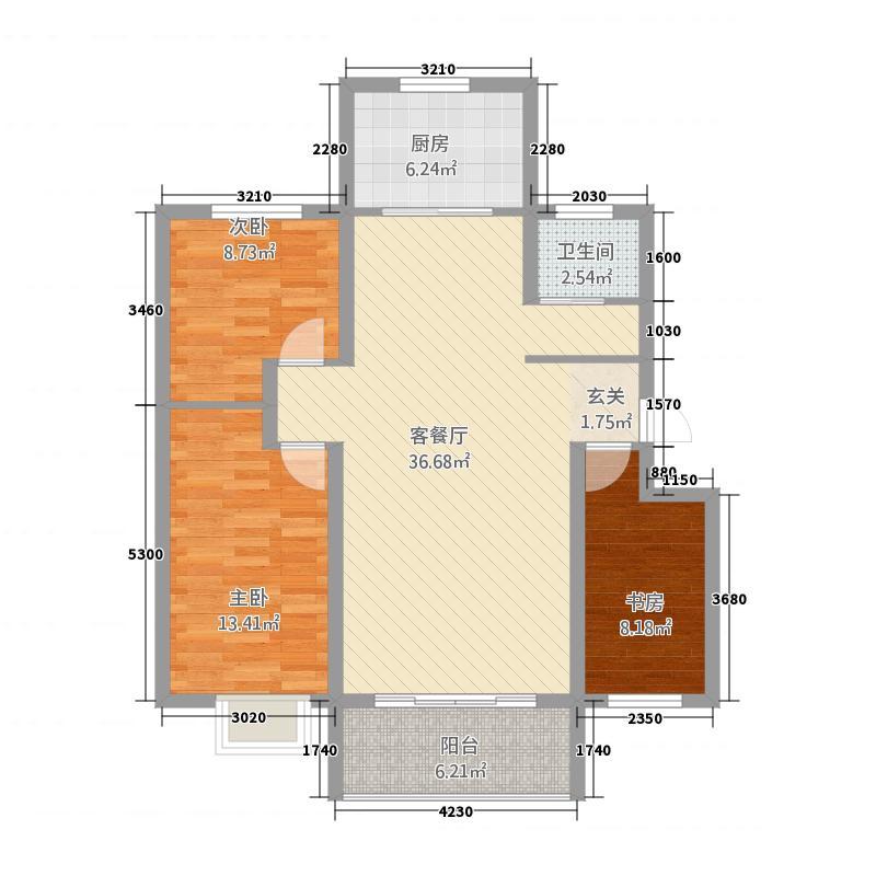 鑫界・阳光里11.42㎡E1户型3室2厅1卫1厨