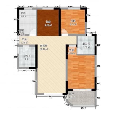 高成上海假日2室1厅2卫1厨115.00㎡户型图