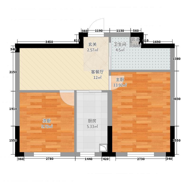 多恩海棠湾65.20㎡B户型2室1厅1卫1厨