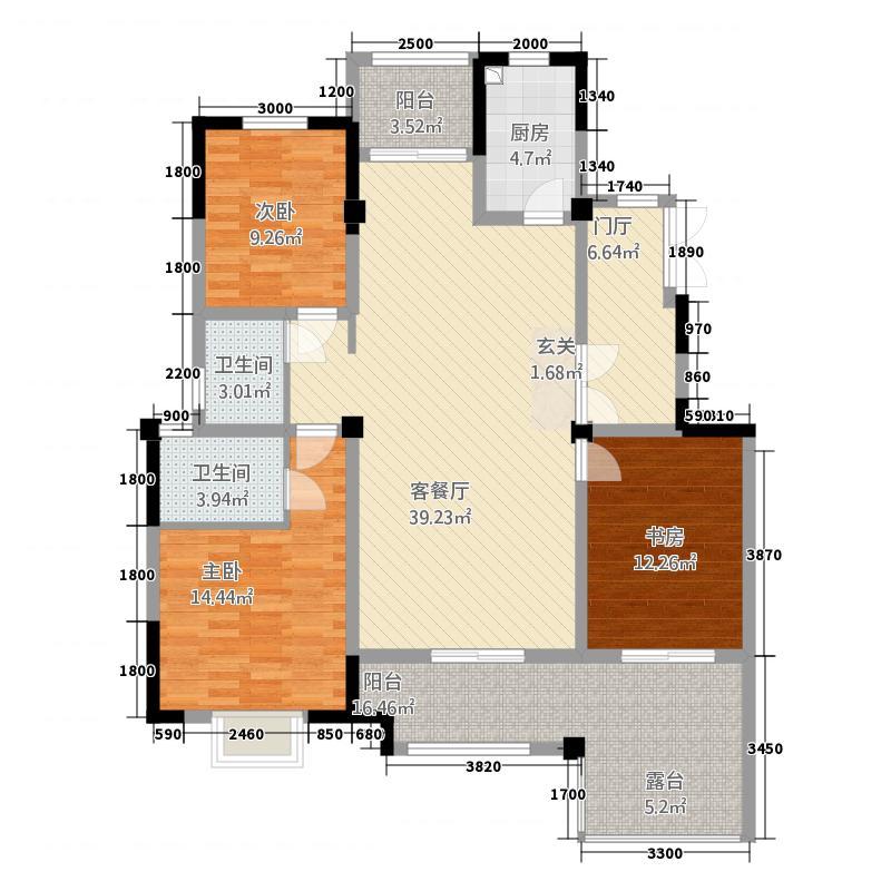 泰安五矿・万境水岸135.72㎡五矿洋房E户型3室2厅2卫1厨