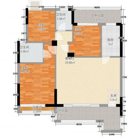 和合国际城二期3室1厅2卫1厨2124.00㎡户型图