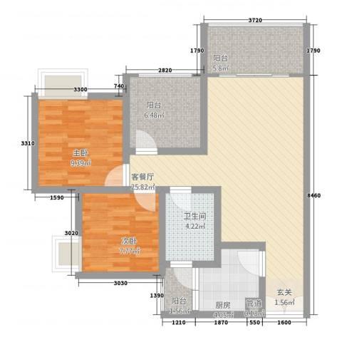 恒森・摩登时代2室1厅1卫1厨188.00㎡户型图