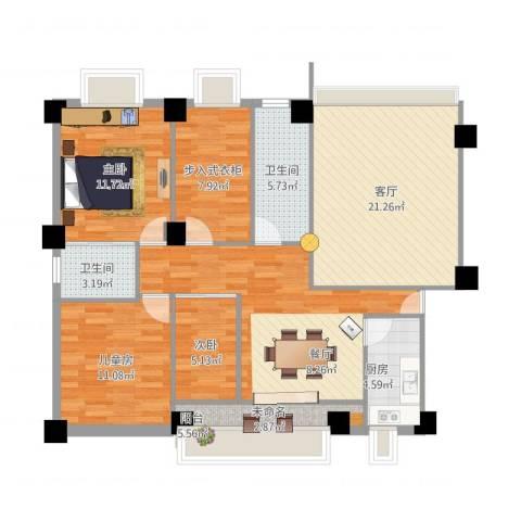 新华苑一期(内部)3室1厅2卫1厨104.00㎡户型图