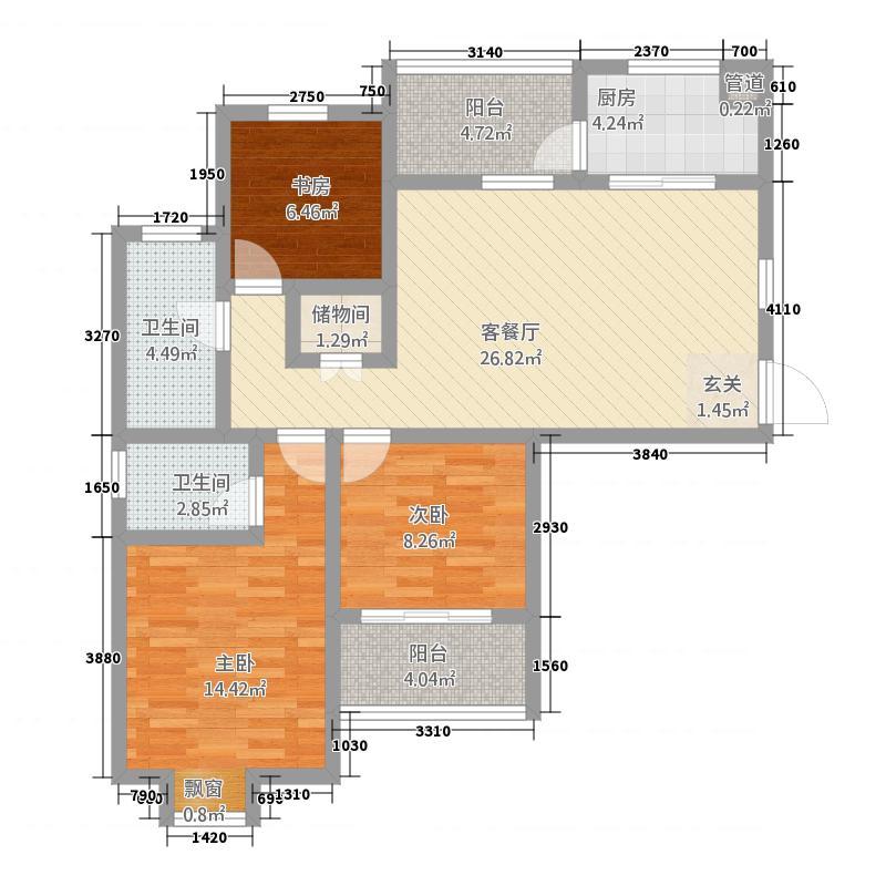 随州城东国际117.84㎡城东国际单张M户型3室2厅2卫1厨