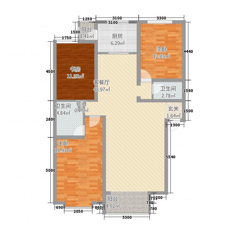 巨海城132.87㎡I户型3室2厅2卫1厨