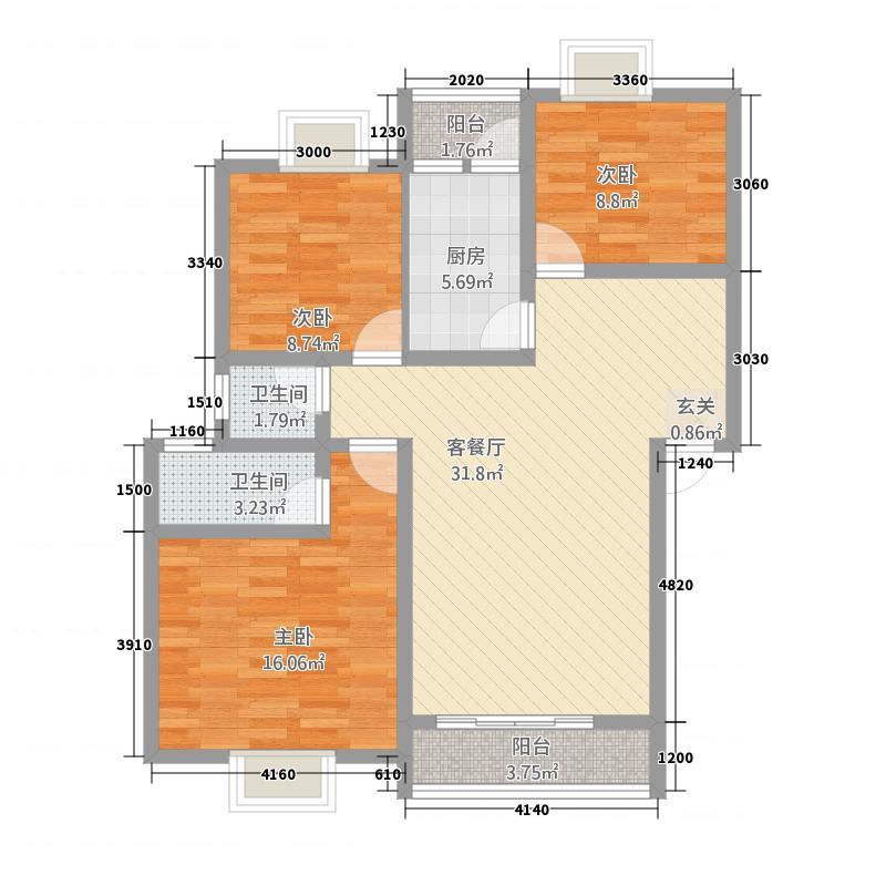 锋城名苑8.80㎡H平面15栋、16栋户型3室2厅2卫1厨