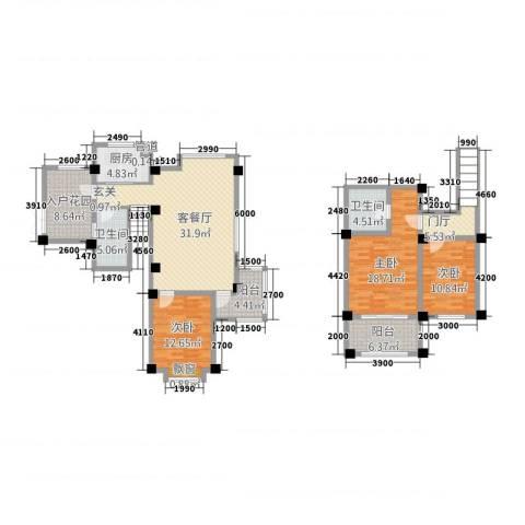 长江国际花园3室1厅2卫1厨132.00㎡户型图
