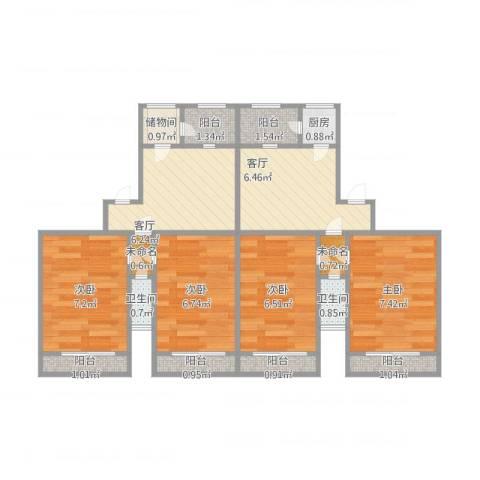 安华里4室2厅2卫1厨74.00㎡户型图