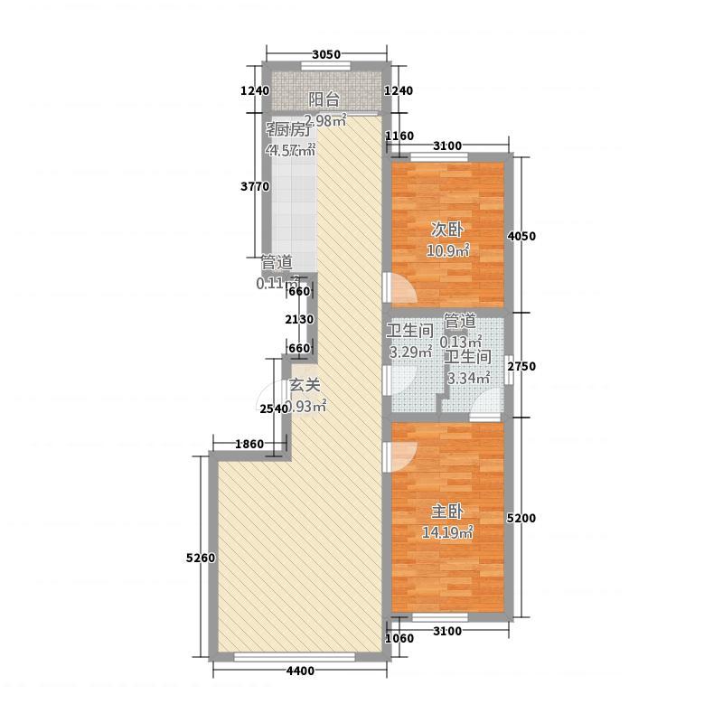 福兴天地118.18㎡(1)户型2室2厅2卫1厨