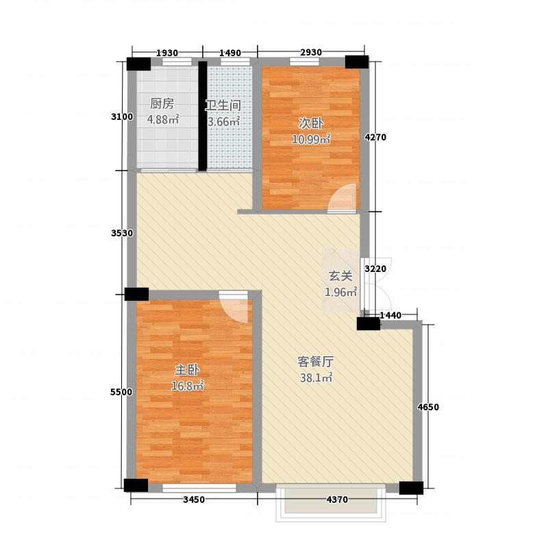天泰嘉园34.27㎡户型3室2厅1卫1厨