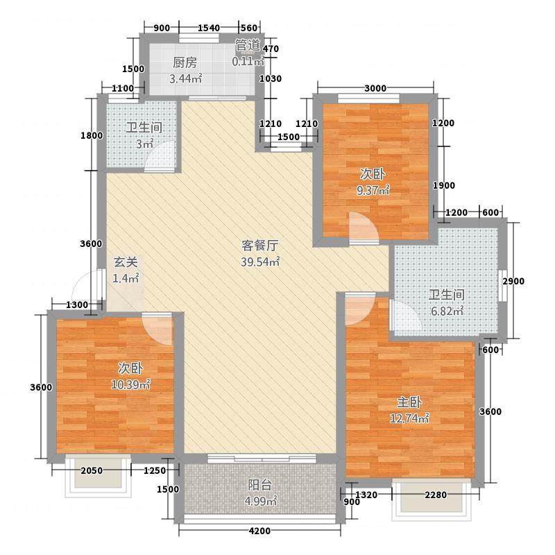 富圣豪庭118.12㎡户型3室2厅2卫1厨