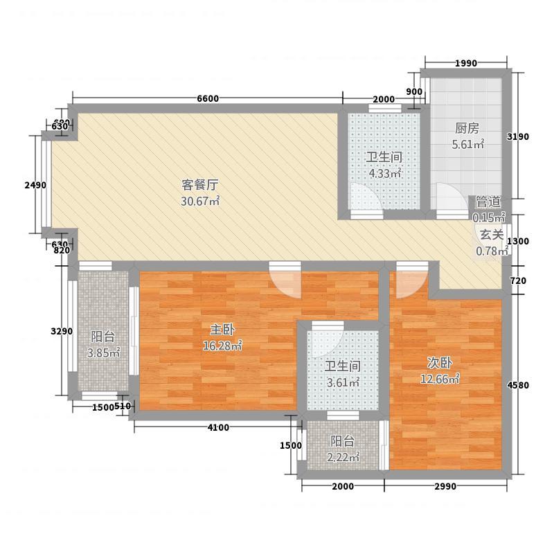宝安江南城别墅高层海景公馆D户型2室2厅2卫