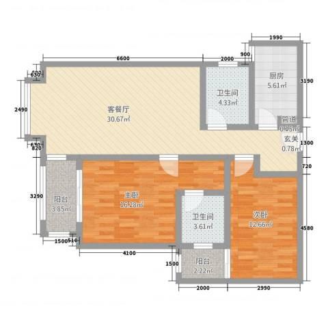 宝安江南城别墅2室1厅2卫1厨79.39㎡户型图