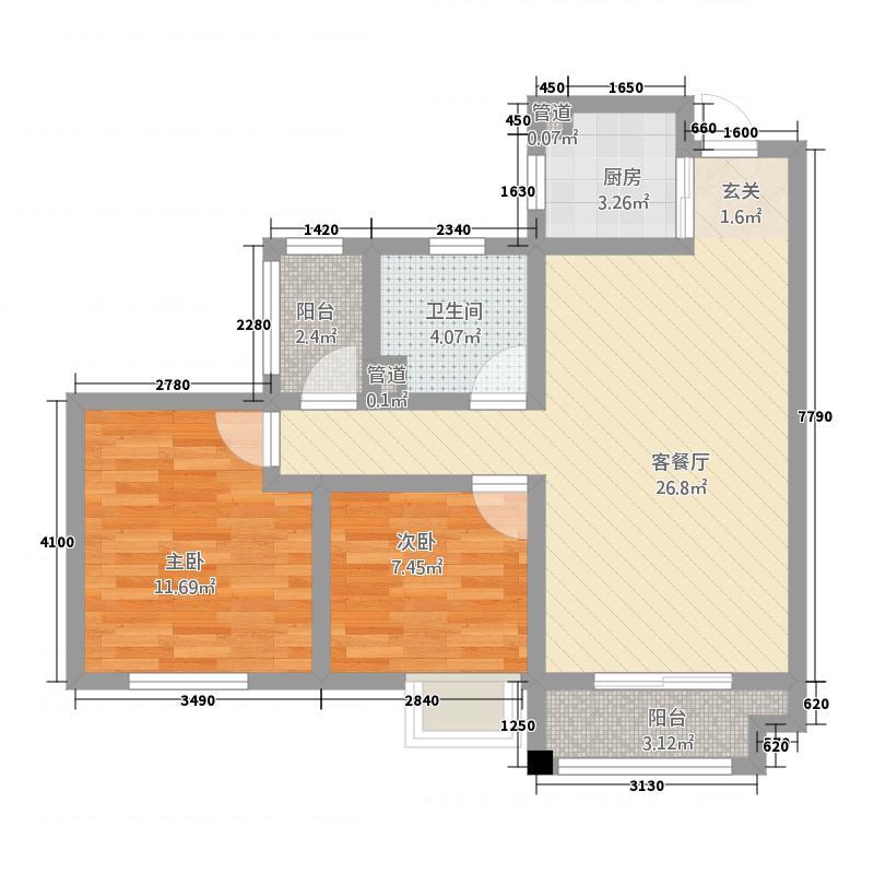 滨江阳光海岸户型2室2厅1卫
