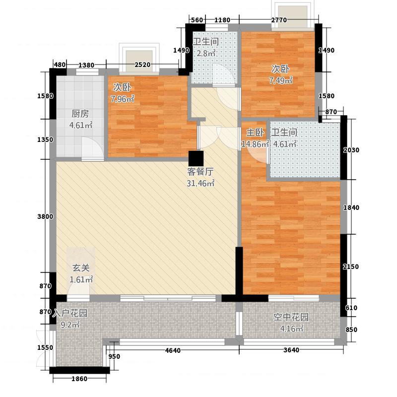 和合国际城二期21123.61㎡2F1户型3室2厅2卫1厨
