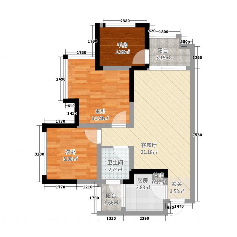 保利叶语4566.20㎡4、5、6号楼标准层D1户型3室2厅1卫1厨