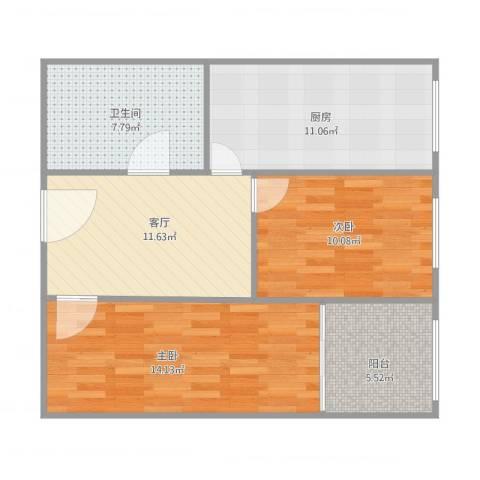 顺祥新区2室1厅1卫1厨81.00㎡户型图