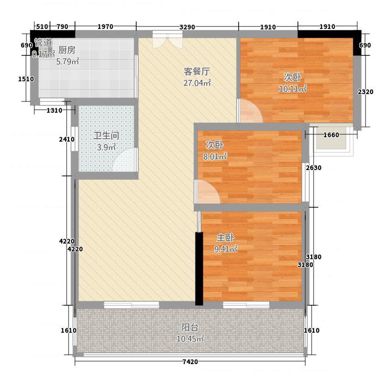 银泰王府328.62㎡B户型3室2厅1卫1厨