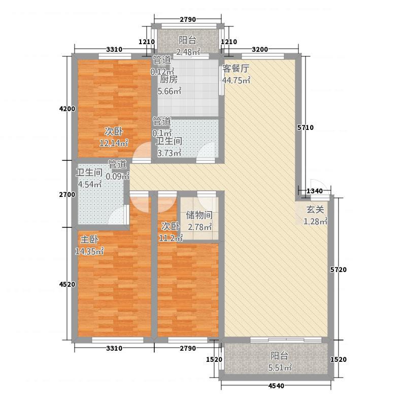 美高美花园232137.58㎡hx户型3室2厅2卫