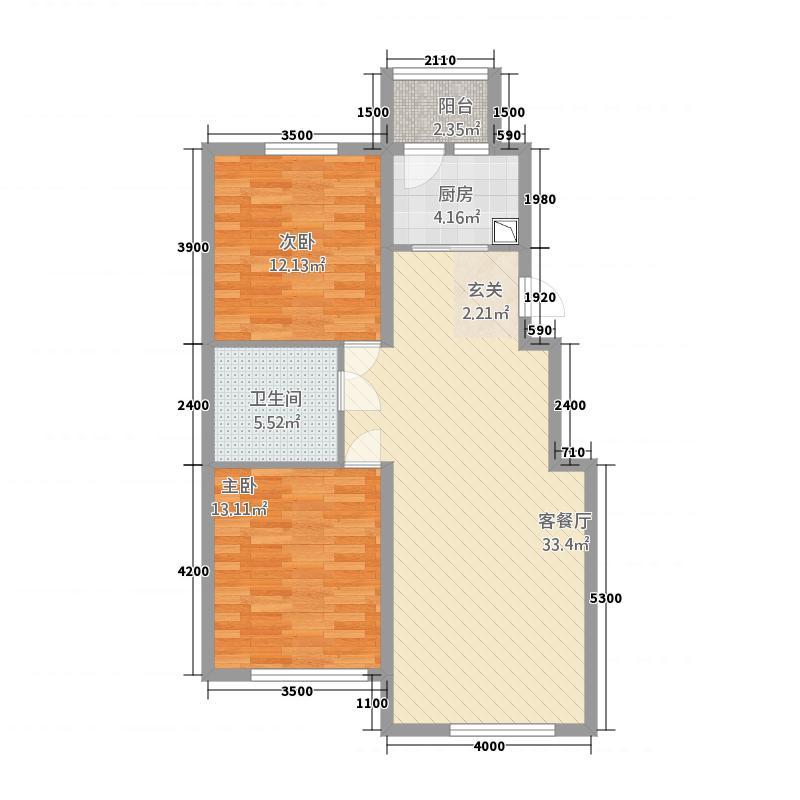 兴安盟锦绣花园85.20㎡E80CD29022A559F8C324F051F91A610F户型2室2厅1卫