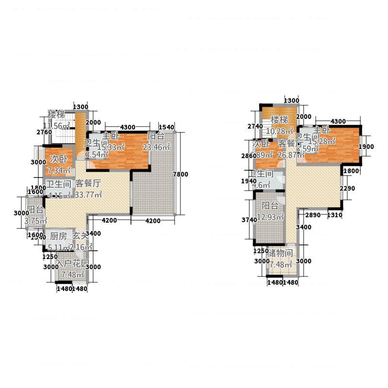 半岛明珠2321.20㎡2期C3栋标准层04户型6室3厅4卫1厨