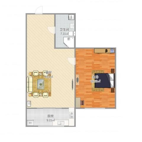 天泉山庄1室1厅1卫1厨114.00㎡户型图