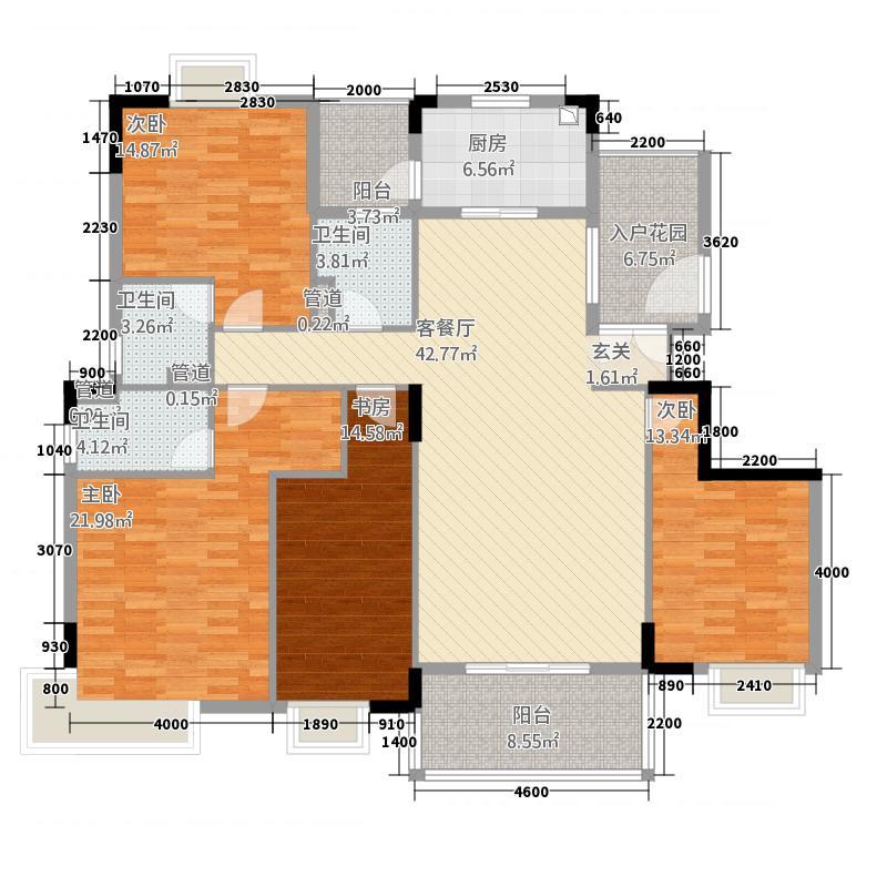 开平汇景湾716.20㎡7幢、9幢C型单位户型4室2厅3卫1厨