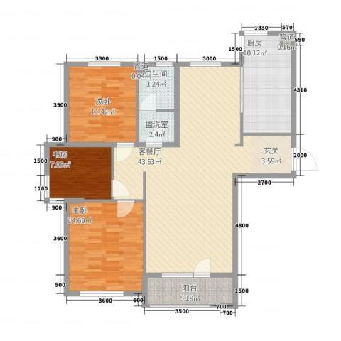 和合国际城二期3室2厅1卫1厨97.87㎡户型图