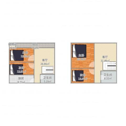 南太平庄北巷25-4-5034室2厅2卫1厨214.00㎡户型图