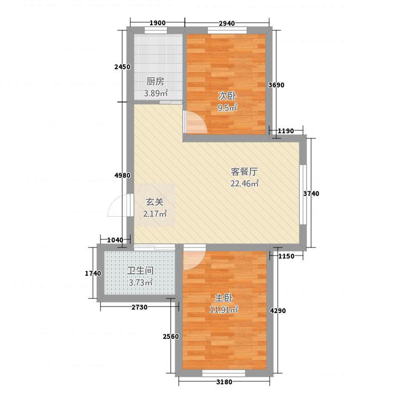 多恩海棠湾77.52㎡三期海棠湾组团F户型2室2厅1卫1厨