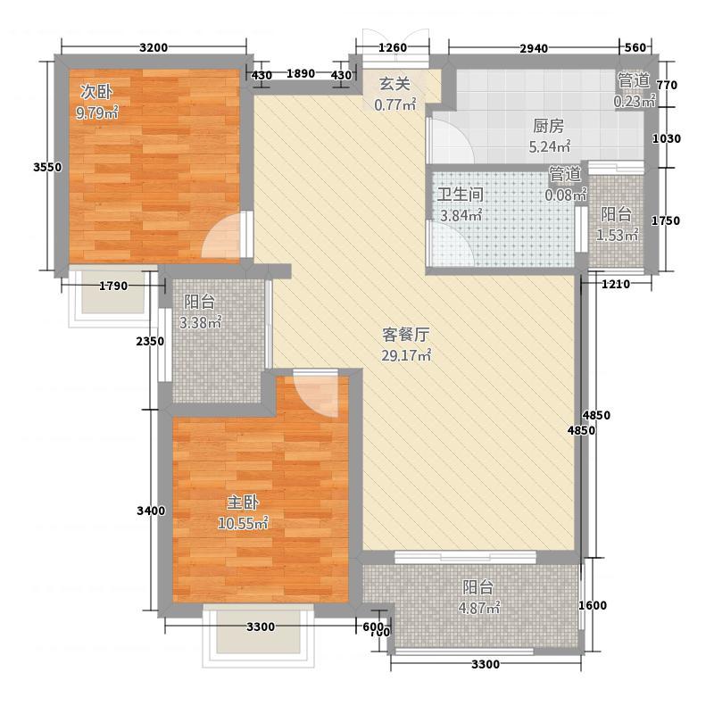 自然界8112.20㎡8#10#楼B1户型2室2厅1卫1厨