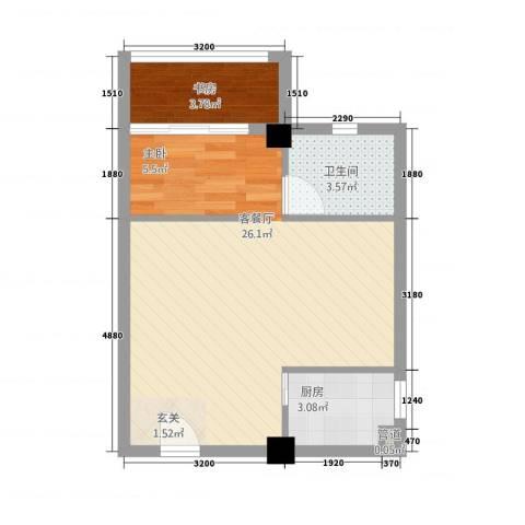 朝阳广场1室1厅1卫1厨52.00㎡户型图