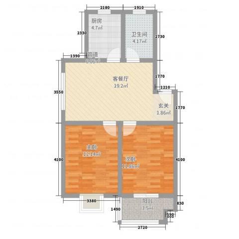 半岛玲珑家园2室1厅1卫1厨81.00㎡户型图