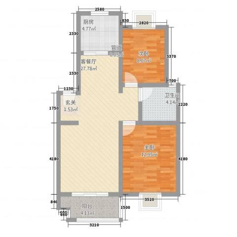 半岛玲珑家园2室1厅1卫1厨61.90㎡户型图