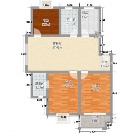 半岛玲珑家园3室1厅2卫1厨111.00㎡户型图