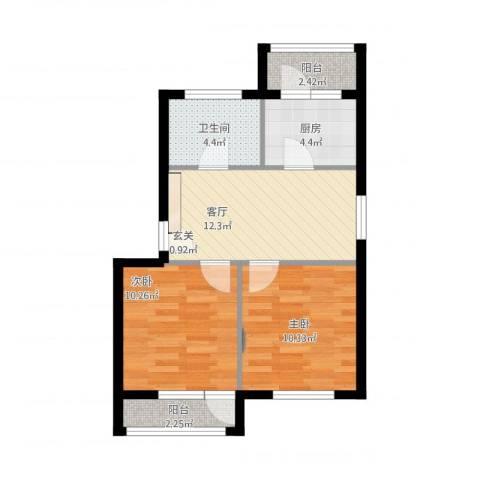 龙乡小区2室1厅1卫1厨67.00㎡户型图