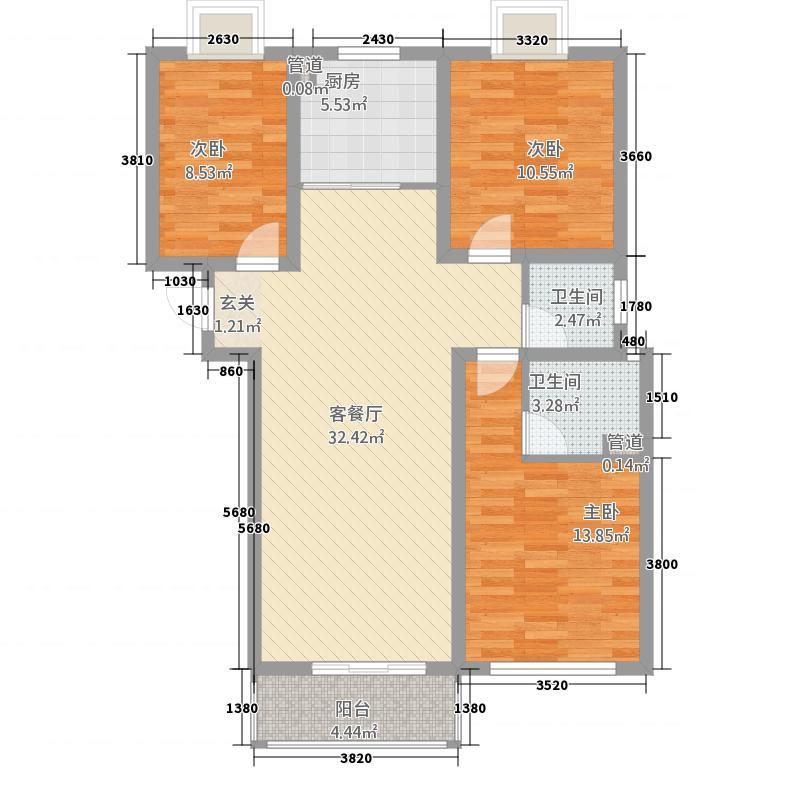 鑫苑景园115.70㎡户型3室2厅2卫