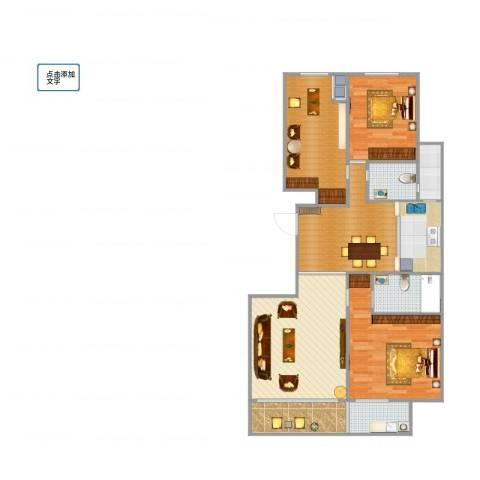 成坤・紫荆花园2室1厅3卫2厨128.00㎡户型图