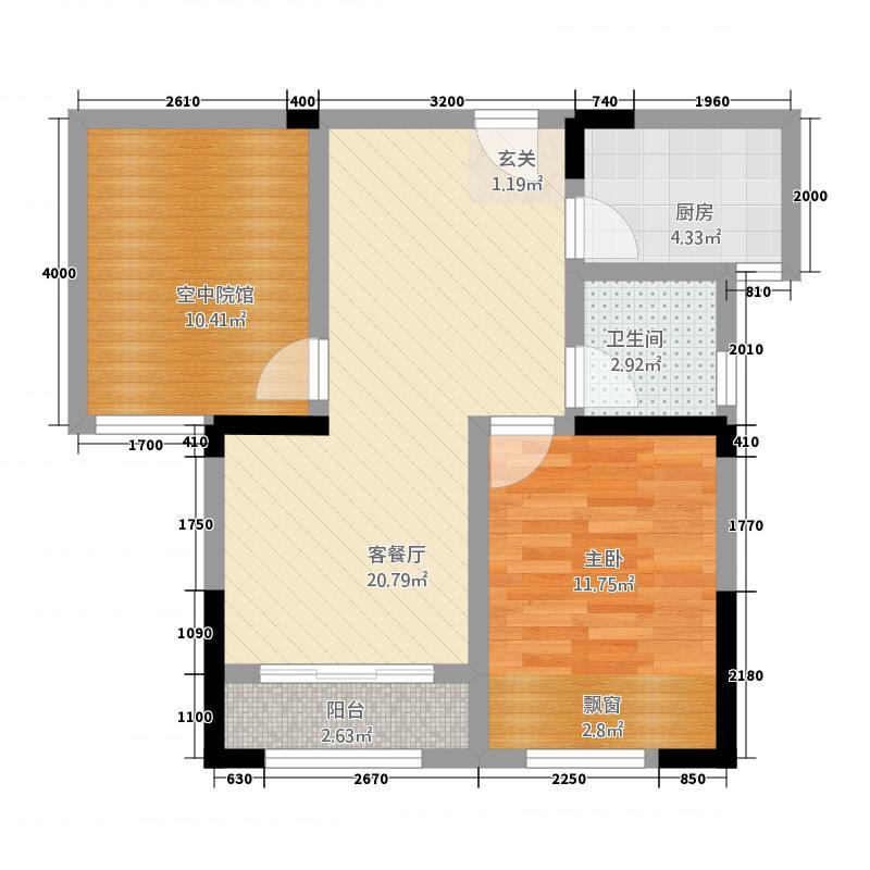 海亮国际广场1265.20㎡1、2#B-户型1室2厅1卫