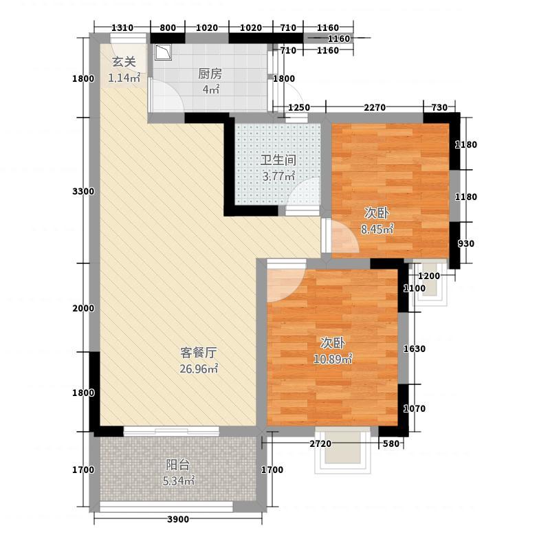 莱茵北郡1778.20㎡一期17号楼E4户型2室2厅1卫1厨