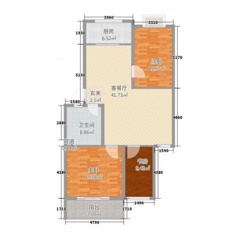 四季春城3室1厅1卫1厨108.18㎡户型图