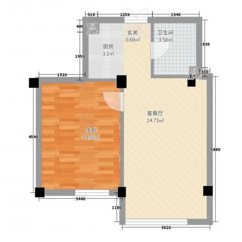 和润公寓1室1厅1卫0厨60.00㎡户型图